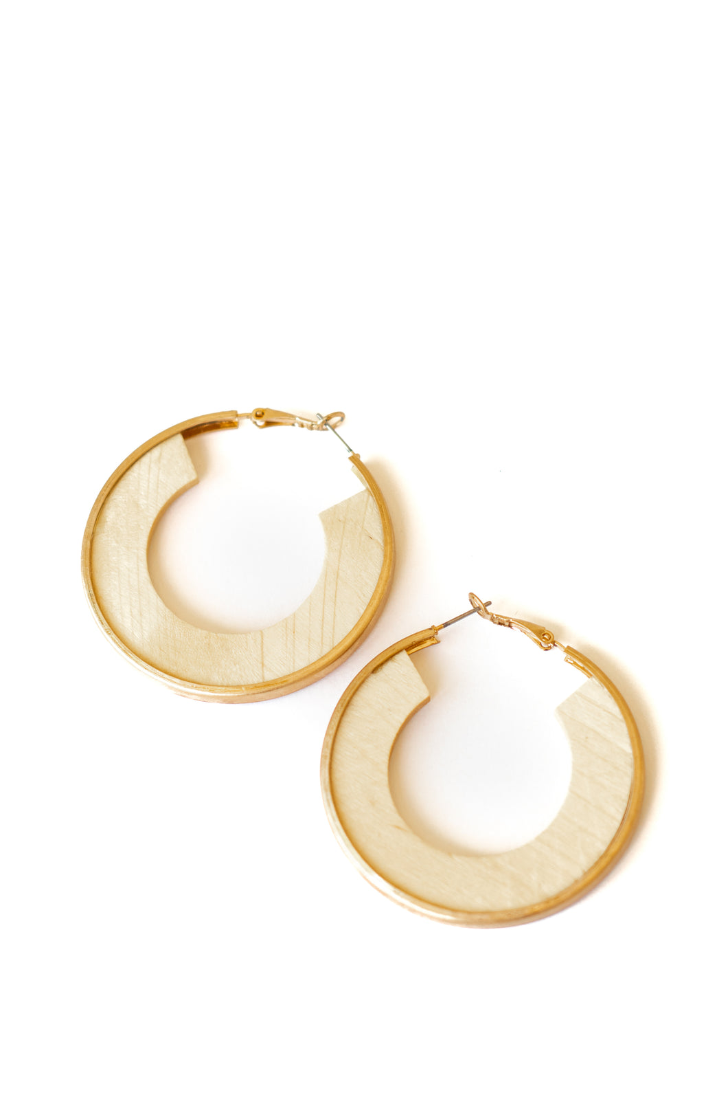 Latchback Gold Wood Hoop Earrings - Ivory