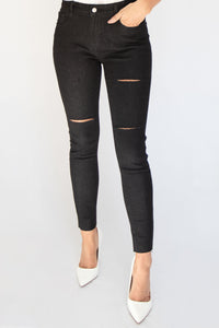 On Repeat Distressed High-Rise Stone Wash Jeans - Black
