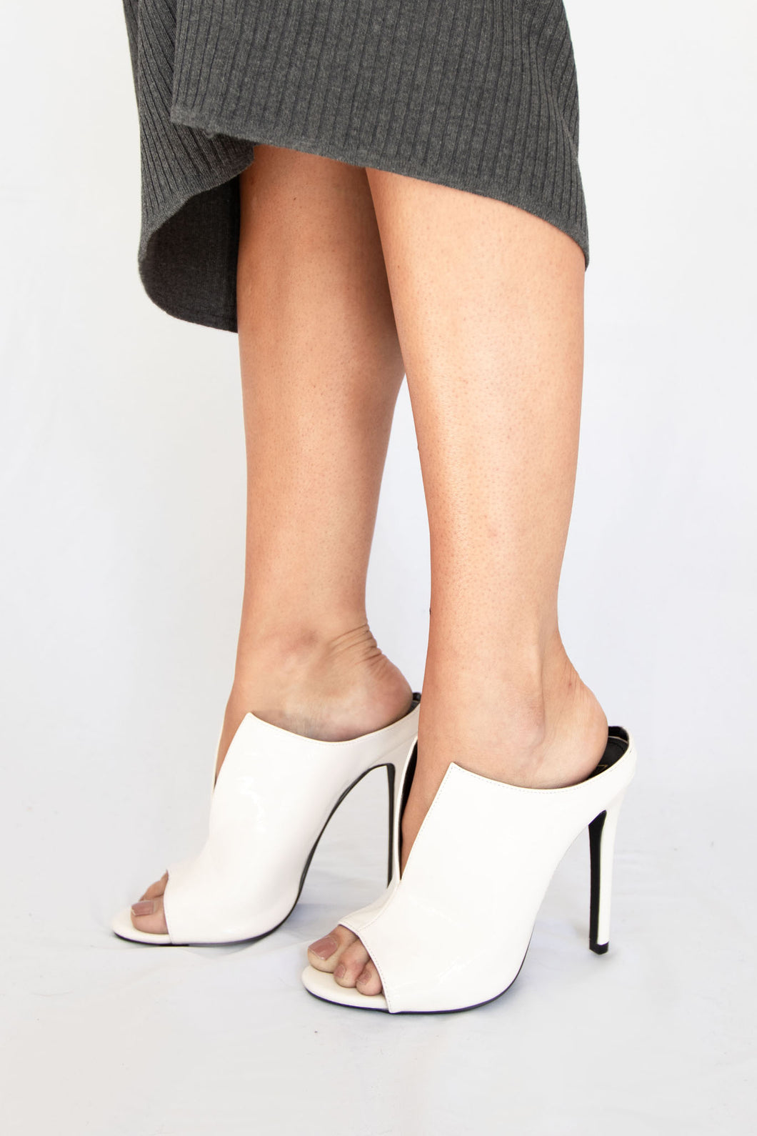 CEO Peep Toe Stiletto High Heel Sandals - White