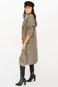 Wanderer Linen Long Jacket - Olive