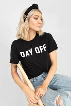 'DAY OFF' Short Sleeve Graphic Tee - Black + White