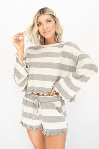 Aimee Striped Lounge Set - Grey + White