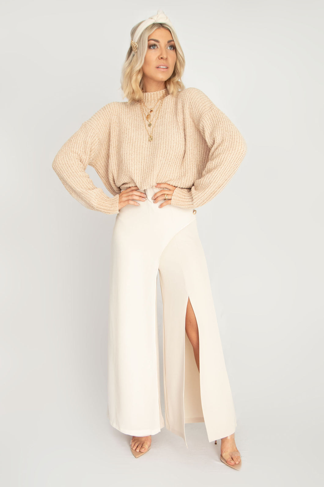 Iconic Wide Leg Pants with Front Slit - Ivory