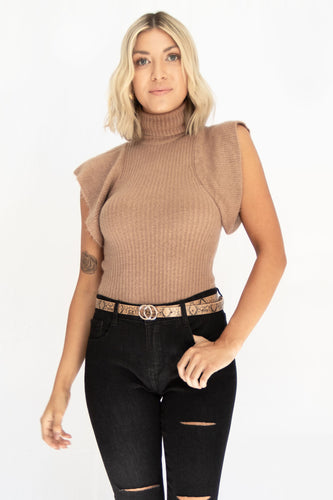 Maisie Fuzzy Turtle Neck Ruffle Sleeve Ribbed Sweater - Light Mocha