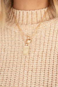 Loren Disc & Rectangle Charms Necklace - Gold