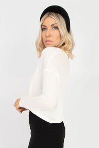 Bryce Button Front Long Sleeve Cropped Cardigan - Cream