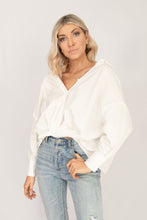 Gemma Twisted Knot Drop Shoulder Long Sleeve Blouse - White