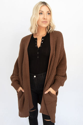 Not Your Grandma's Bishop Sleeve Oversized Cardigan - Brown
