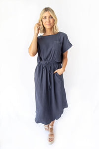 Abigail Relaxed Open Back Midi Dress w 2 Button Back Closure - Dutch Blue