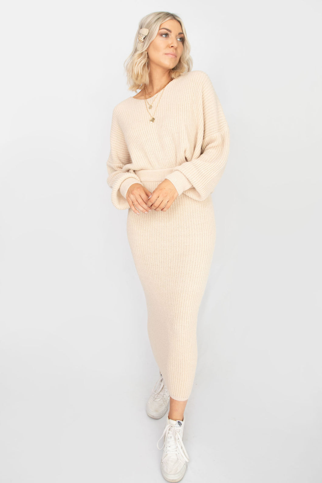 Best Self V-Neck Drop Shoulder Ribbed Sweater + Maxi Skirt Set - Taupe