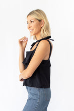 Addison Crop Square Neck Top w Bow Detail - Black