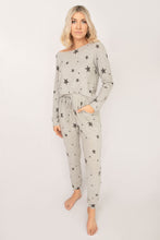 Sutton Star Print Top + Drawstring Pant Lounge Set - Heather Grey
