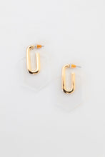 On the Edge Geo Shape Accrylic Earring w Gold Accent