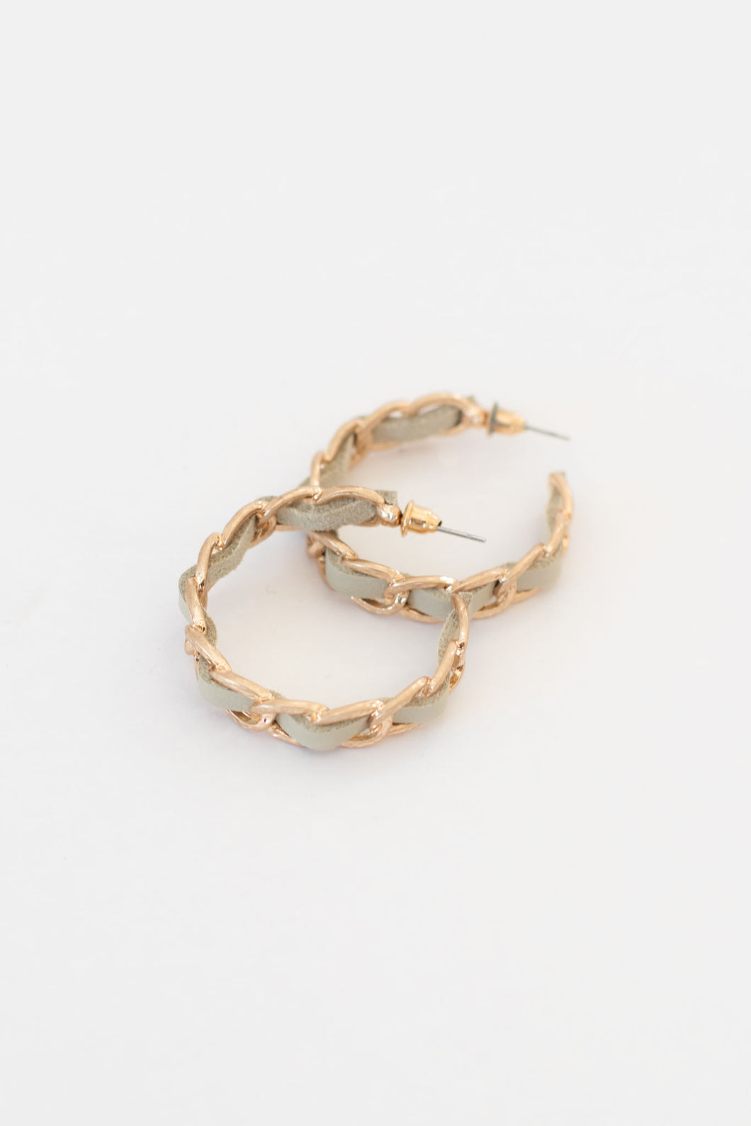 Bradshaw Gold Chain + Faux Leather Hoop - Ivory