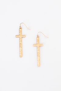 Mirage Cross Shape Hammered Metal Dangling Earrings - Gold