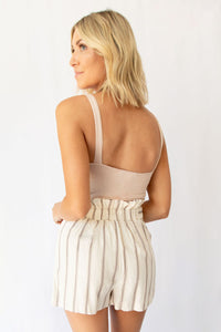 Sandra High-Waist Cinched Button Detail Stripe Linen Short - Ivory + Taupe