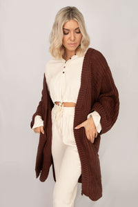 Wellness Waffle Knit Hoodie Drawstring Crop Top + Pant Lounge Set - Ivory