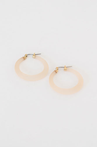 Austria Acetate Latch Hoop Earring - Ivory
