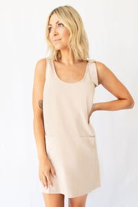 Cypress Sleeveless Scoop Neck Mini Overall Dress w Front Pockets - Taupe