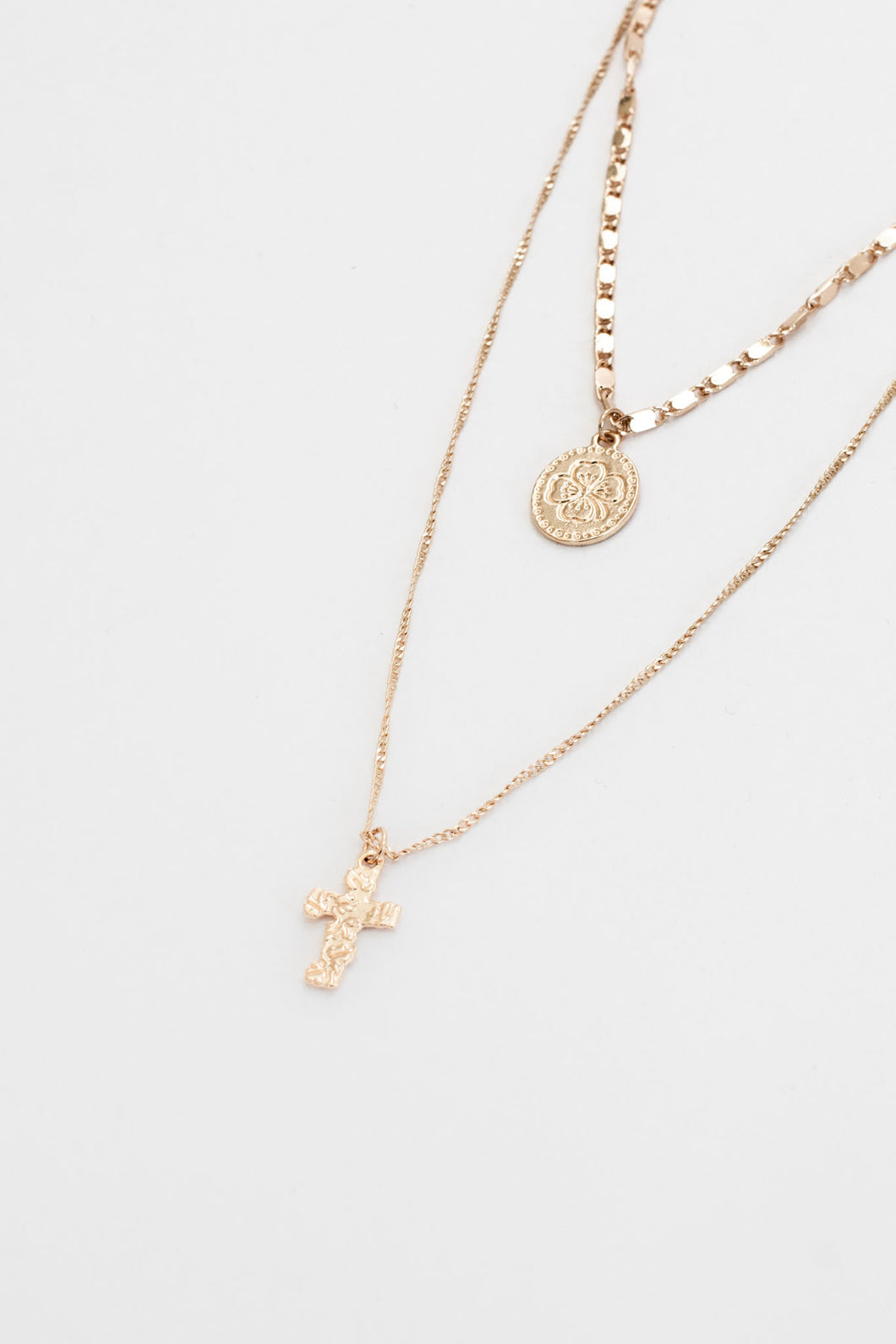 Pernille Coin Choker + Cross Pendant Layered Necklace - Gold