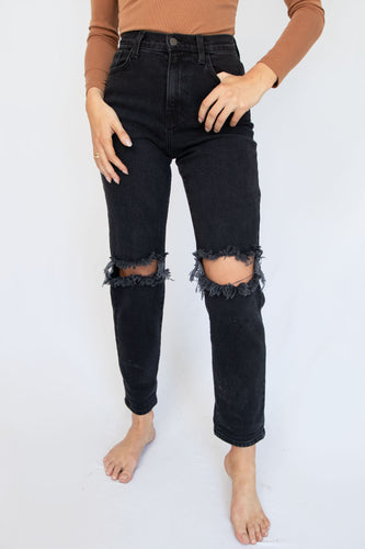 Brooks Ripped Distressed High Waisted Vintage Black Jeans
