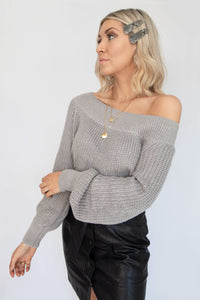 Presley Chunky Off Shoulder Ribbed Knit Sweater - Heather Grey