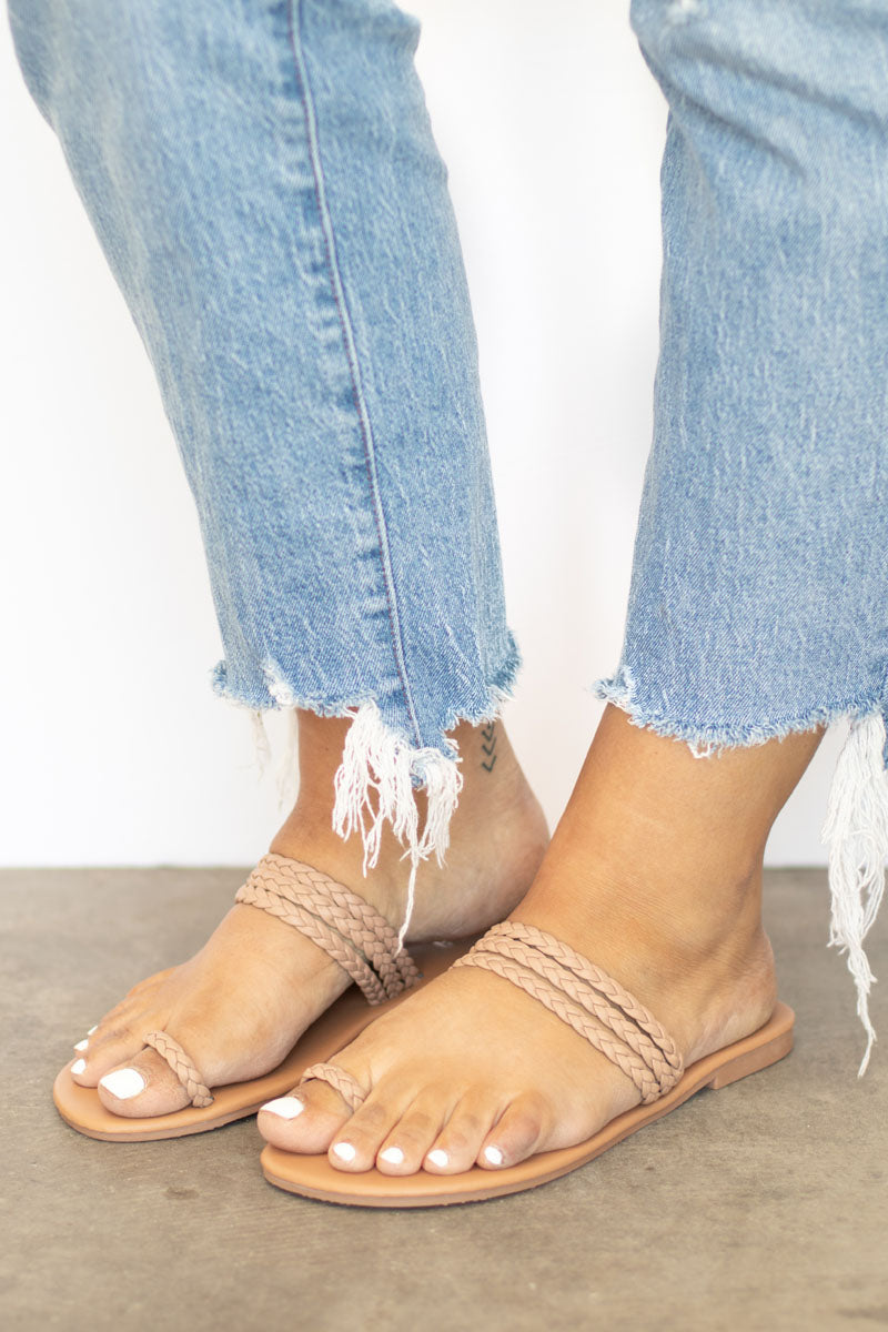 Trini Toe Ring Braided Flat Sandal - Taupe