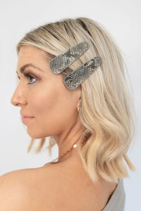 Aura Faux Leather Triangle Hair Clip - Black Snake