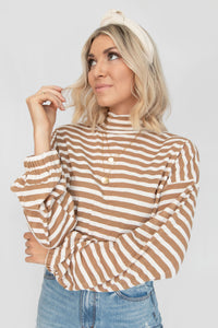 Rookie Striped Drop Shoulder Mock Neck Sweater - Camel + White