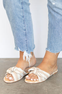 Tie Top Criss Cross Flat Sandal - Grey + White Stripe
