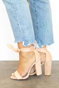 Penny Single Toe Band Simple Bow Ankle Strap Heel - Nude