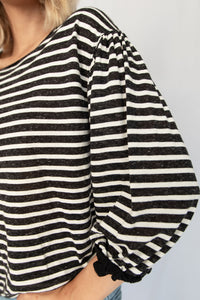 Daily Practice Round Neck Drop Shoulder Striped Knit Top - Black + White