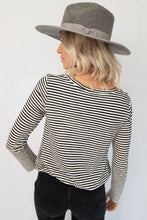 Merrit Round Neck Long Sleeve Striped Knit Top - Black + White