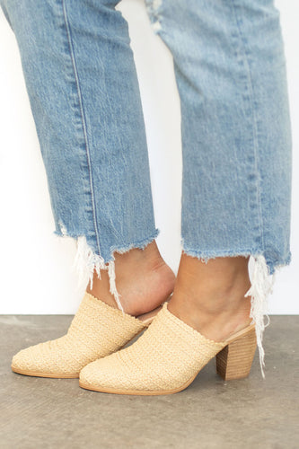 Melanie Basket Weave Slide + Block Heel - Natural