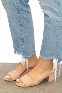 Newport Single Strap Suede Low Heel Slide - Taupe