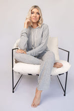 Aubrey Hoodie Top + Drawstring Pant Lounge Set - Heather Grey