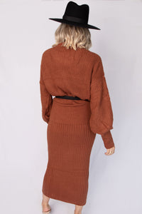 Maxwell Turtleneck Knit Top + Maxi Skirt Set - Rust