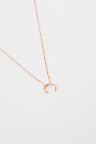 Chrissy Crescent Horn Necklace - Rose Gold