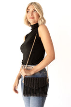 Locklin Basketweave Rectangular Clutch w Gold Chain Shoulder Strap - Black