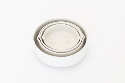 Coal Stoneware Measuring Cups - White -  Set of 4