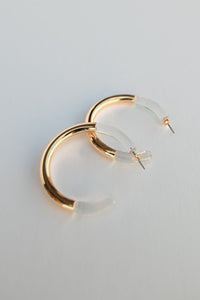 Tomi Two Tone Rounded Hoop Earrings - Gold/Clear