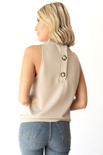 Halle Sleeveless Embossed Texture Button Back Top - Taupe