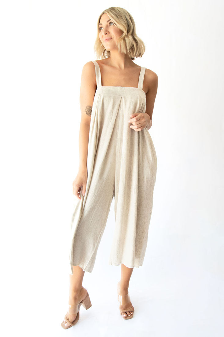 Meadow Pleated Square Neckline Linen Wide Leg Capri Jumpsuit