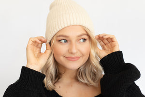 Holly Cashmere Knit Beanie - Ivory