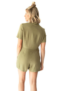 Veda Textured Gauze Button Down Chest Pocketed Romper - Moss
