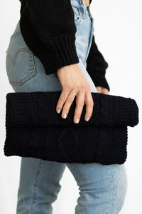 Sweater Weather Cableknit Overlapping Clutch - Black