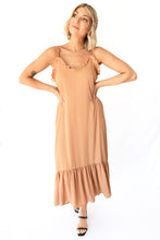 Emery Spaghetti Strap Ruffled Edge Maxi Dress - Caramel