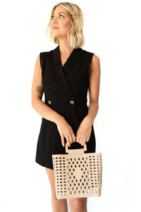 Parker Sleeveless Jacket Romper w Foldover V-Neck Collar + 2 Gold Buttons  - Black