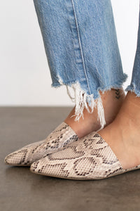Juno Flat Slip On Mule - Brown Snake