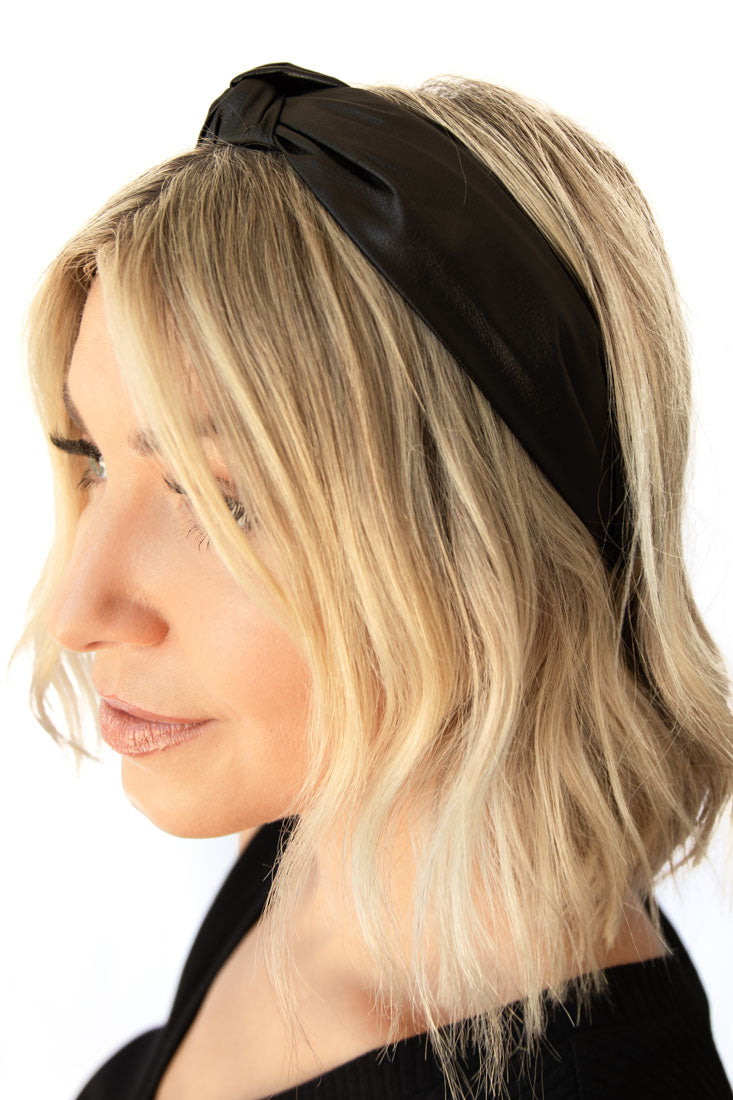 Rosie Faux Leather Knotted Head Band -  Black